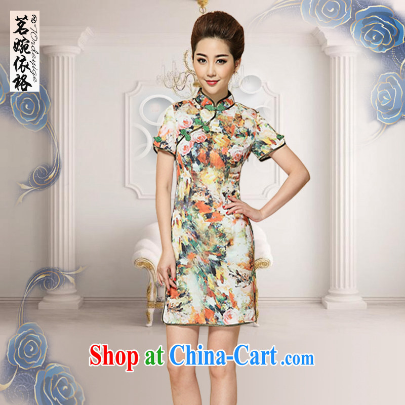 Tea Yuen in accordance with the spring and the new, Retro, for dresses skirts improved stylish summer Chinese beauty, elegant floral dresses, older women with Chinese floral XL