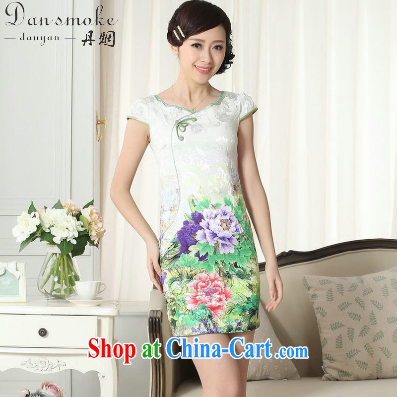 Dan smoke summer new female temperament Chinese qipao elegant improved graphics thin beauty is a tight round-collar short cheongsam dress such as the color 2 XL