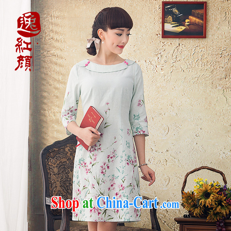 proverbial hero once and for all and occasional Ethnic Wind the cuff antique stamp duty the commission cotton dress Spring Summer 2015 Women New Beauty green M