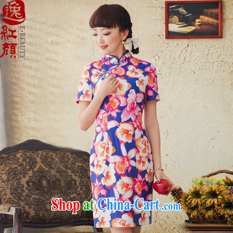 once and for all your proverbial hero flower Chinese stamp duty cheongsam dress improved stylish 2015 spring and summer new retro cheongsam dress scarlet 2XL