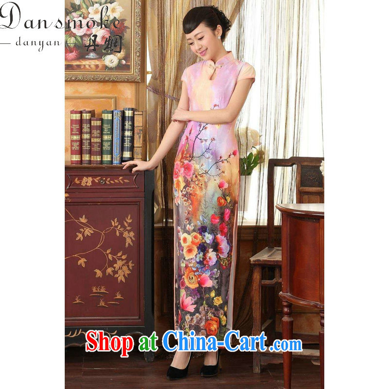 Dan smoke summer new dress qipao Chinese improved the waters drop short-sleeved cultivating long double long cheongsam dress 8 pink 2 XL