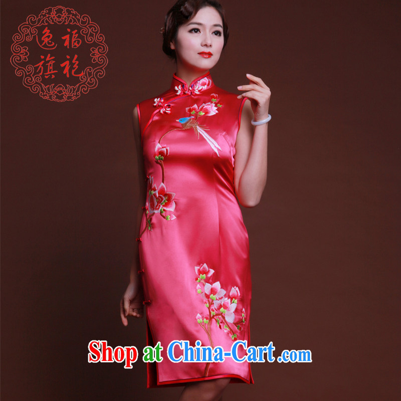 once and for all, the red embroidery cheongsam short bridal dresses silk 2014 new toast Service Advanced Custom rose red tailored 20 day shipping