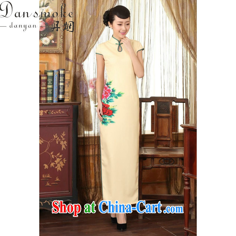Bin Laden smoke-free summer cheongsam dress Chinese state-day Hong Kong cheongsam dress beauty graphics thin elegance dresses long dresses such as the color L