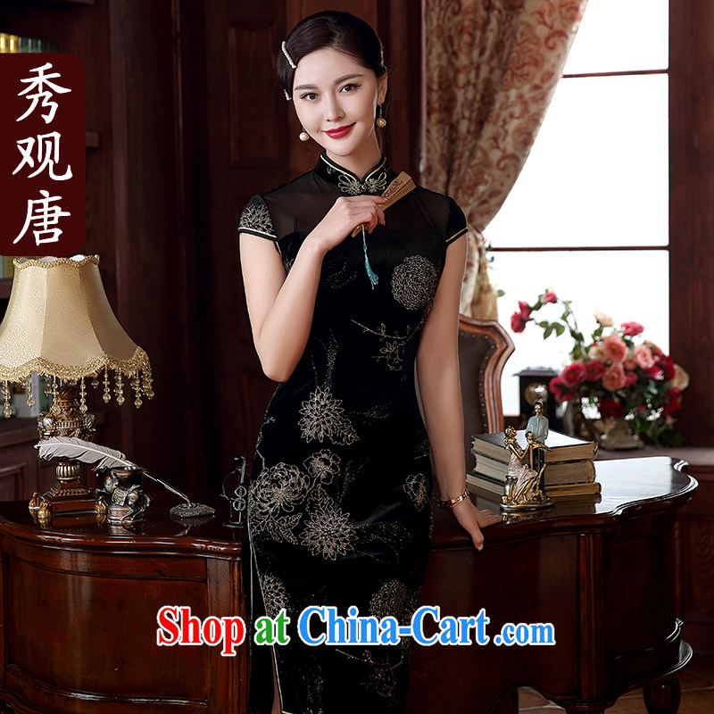 The CYD HO Kwun Tong' sponsors night 2015 spring_summer new hot silver aura cheongsam dress stylish and refined antique dresses QD 5117 black XXXL