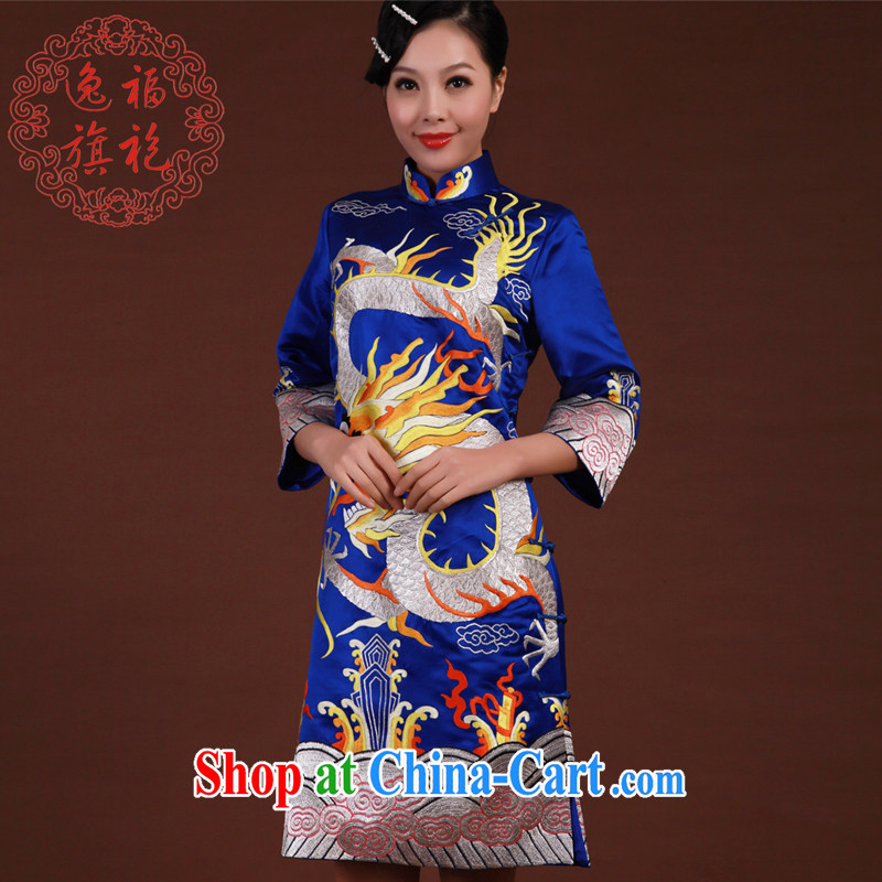 once and for all, embroidery cheongsam female stars with long gowns dresses high-end custom, long-sleeved Silk Cheongsam winter Po blue tailored 20 day shipping