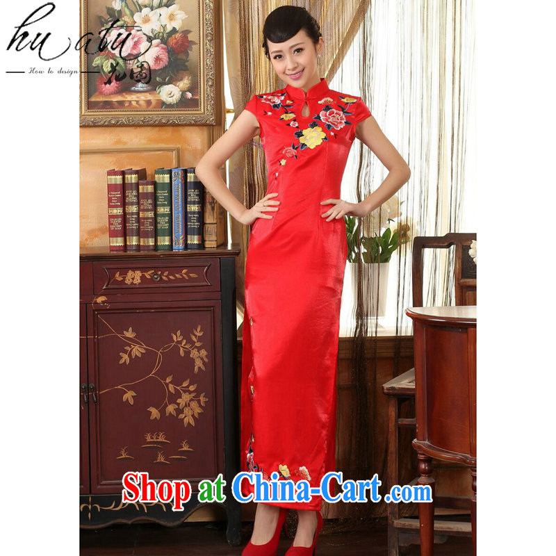 spend the summer dresses Women's clothes, Chinese collar embroidery cheongsam dress beauty graphics thin elegant bridal dresses long dresses red 2 XL