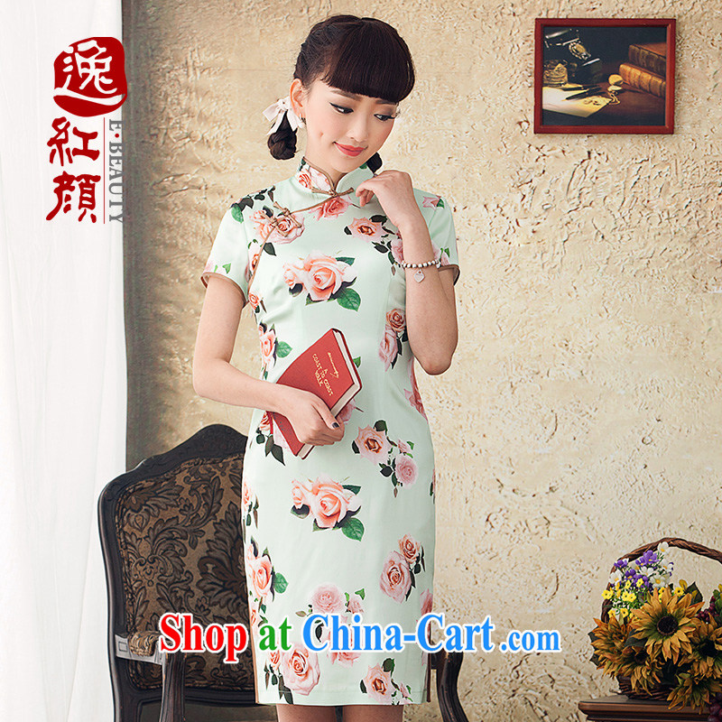 once and for all, Ms Elsie Leung fatally jealous about stamp duty improved cheongsam dress fashion 2015 spring and summer New Silk Cheongsam dress retro green 2 XL