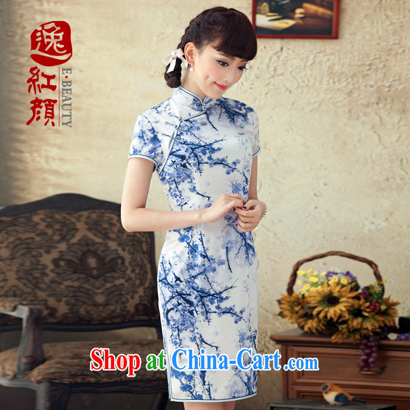 once and for all and fatally jealous MGM Studios 2015 spring and summer New Silk Cheongsam improved stylish sauna Silk Cheongsam dress retro blue L