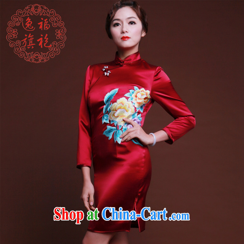 once and for all, marmalade red Silk Cheongsam dress in long-sleeved new embroidery cheongsam short Chinese Dress Advanced Customization deep red tailored 20 day shipping