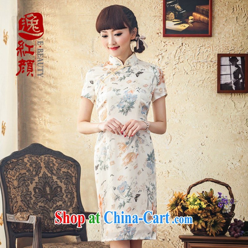 proverbial hero once and for all the new Silk stamp short cheongsam improved stylish new spring day qipao dresses candled XL 2