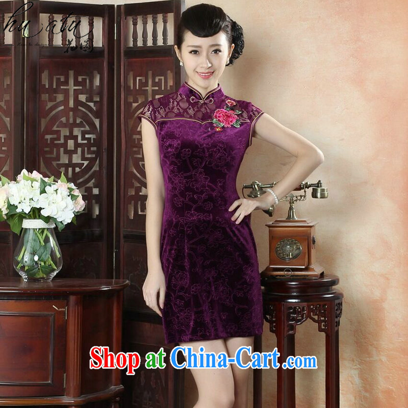spend the summer dresses new female Chinese Chinese improved the collar lace cheongsam dress daily video thin embroidered short cheongsam - B purple 2 XL