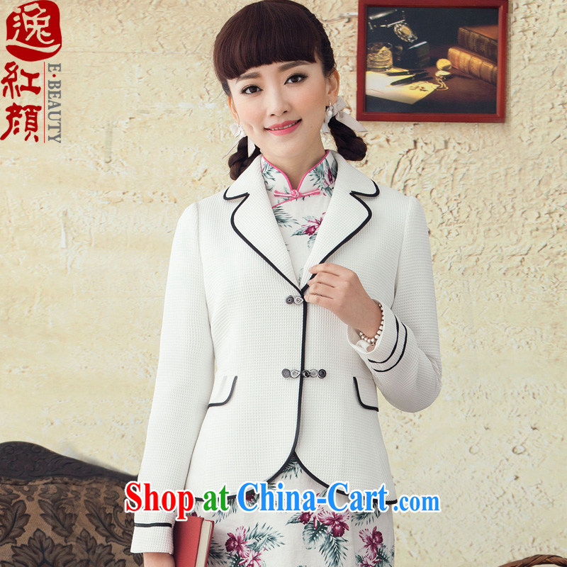once and for all and fatally jealous Fang Ling 2015 spring and summer long-sleeved jacket new Chinese Ethnic Wind beauty jacket, Retro white XL April 12 ship date