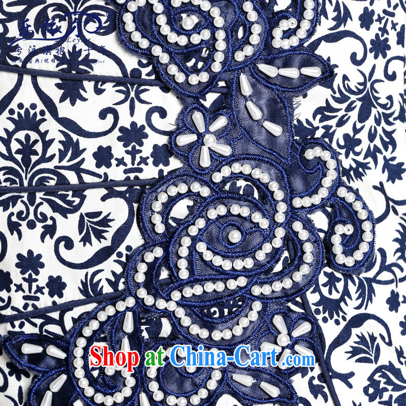 And, in accordance with spring loaded new outfit blue and white porcelain antique Ethnic Wind improved cheongsam dress daily retro 2015 blue and white porcelain color S, in accordance with (leyier), online shopping