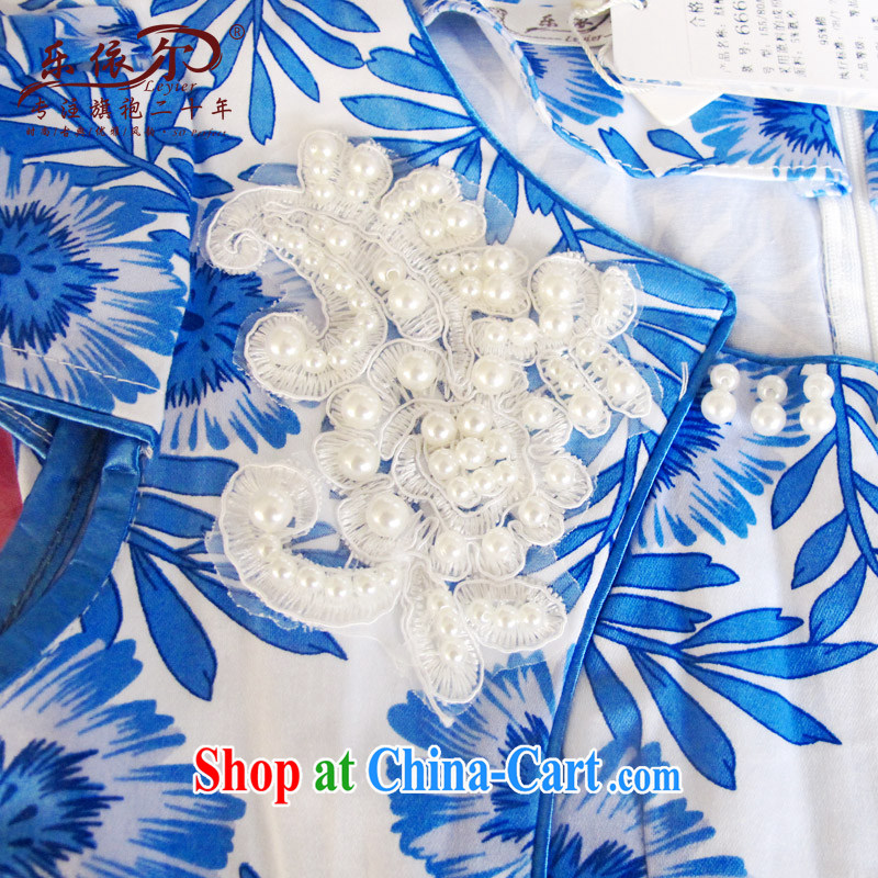And, in accordance with blue and white porcelain classic cheongsam dress spring 2015 women dresses new short-sleeved improved lady the Pearl blue and white porcelain S, in accordance with (leyier), online shopping