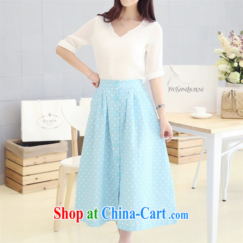 Ya-ting store 2014 summer new female Korean Wave, dresses the waist graphics slim skirt 2-piece set 61,519 white + blue L