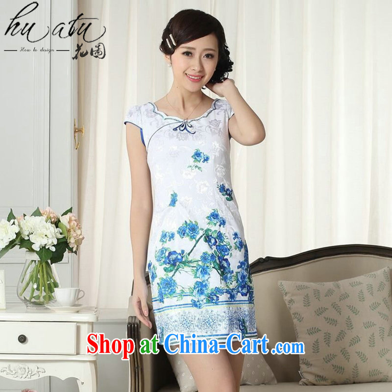 spend the summer dresses Women's clothes lady stylish jacquard cotton cultivating short cheongsam dress Chinese new improved cheongsam dress figure-color 2 XL