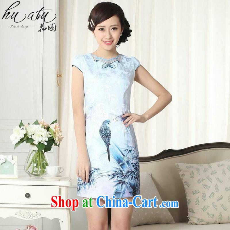 Take the female dresses summer lady stylish jacquard cotton cultivating short cheongsam dress daily new improved cheongsam dress 1 2 XL