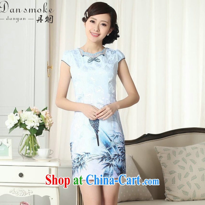 Dan smoke female dresses summer lady stylish jacquard cotton cultivating short cheongsam dress daily new improved cheongsam dress 1 2 XL