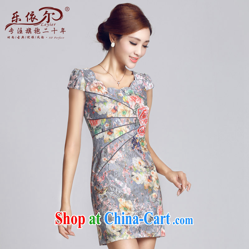 And, in accordance with 2015 new improved lady dresses retro embroidery take short cheongsam dress daily video thin package and blue L