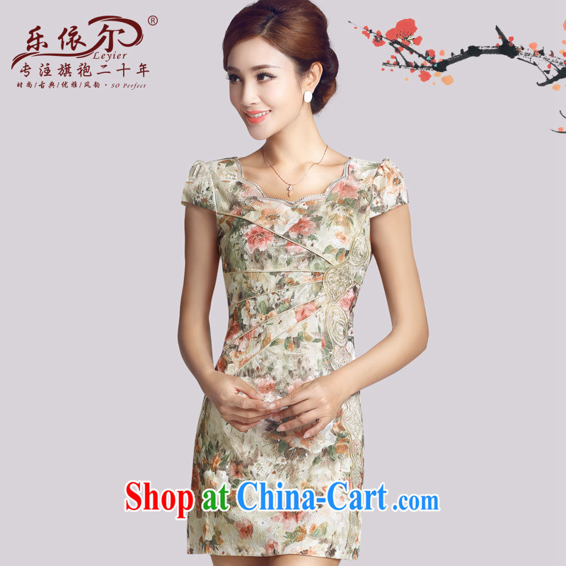 And, in accordance with spring loaded new improved retro lady cheongsam embroidery flowers daily cultivating short cheongsam dress 2015 female apricot S