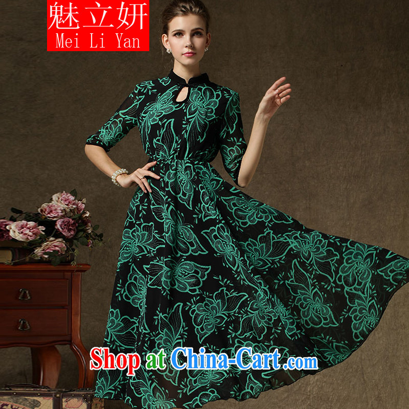 Clearly, her 2015 new real-time a lady fall and winter improved cheongsam, large retro skirt Ethnic Wind dress green XL