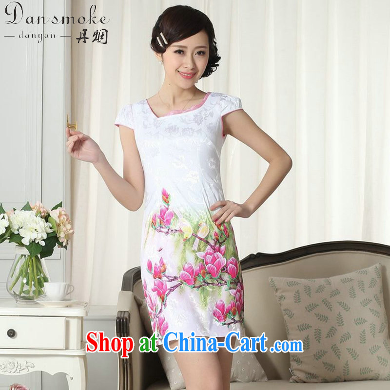 Dan smoke summer new female elegance Chinese qipao improved graphics thin short beauty with flower figure short dresses such as the color 2 XL