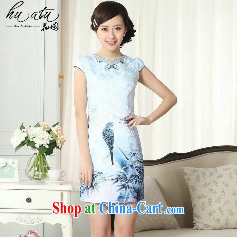 spend the summer new female lady stylish jacquard cotton cultivating short cheongsam dress improved lace collar cheongsam dress such as the color 2 XL