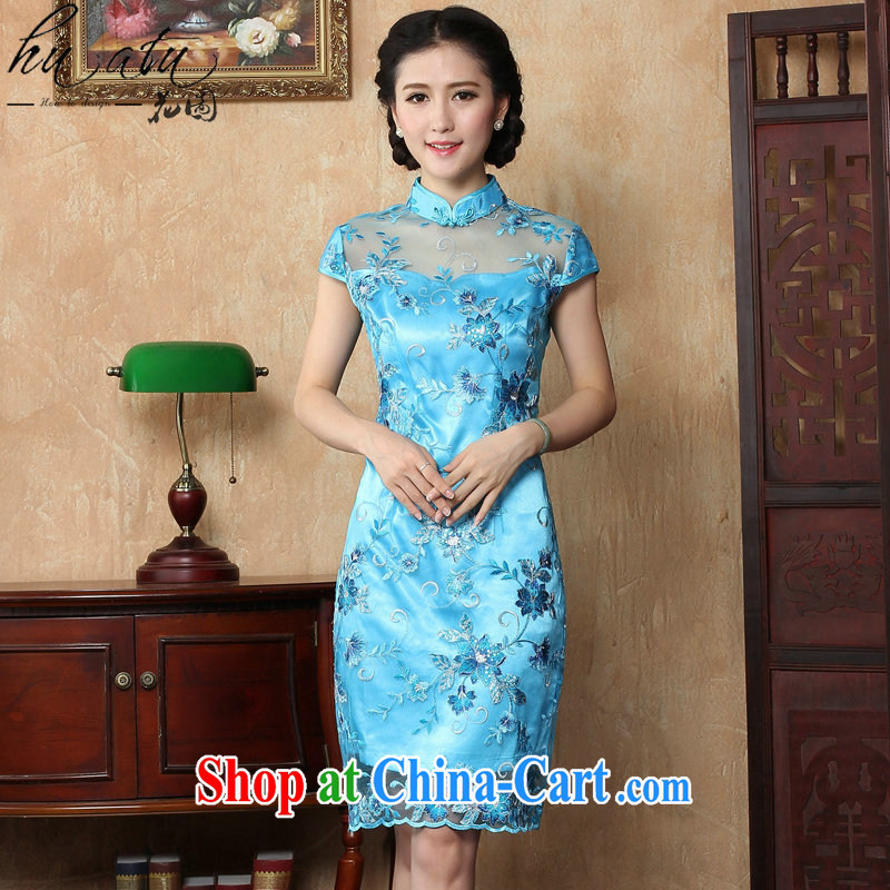 Take the new summer improved female cheongsam dress fashion style retro Chinese lace daily dresses short dresses, blue 2 XL