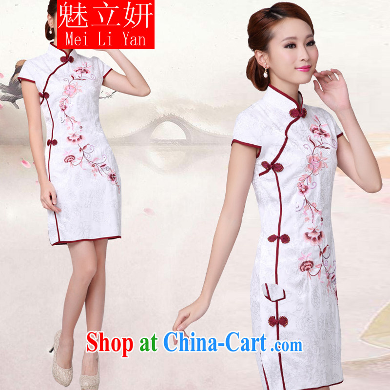 Clearly, her 2015 new white cheongsam dress stylish improved Chinese qipao white XL