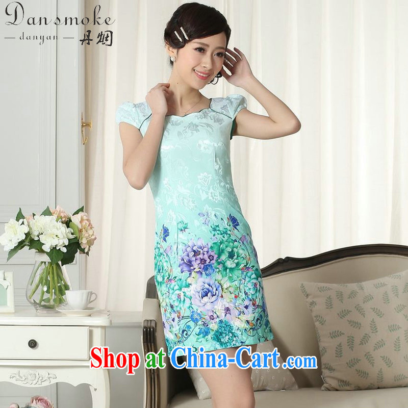 Bin Laden smoke summer new lady fashion jacquard cotton cultivation video thin short cheongsam dress improved cheongsam dress stamp duty as the color 2 XL