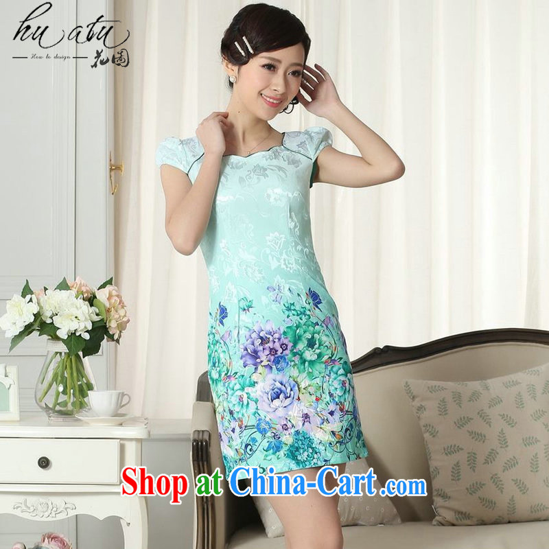 spend the summer new lady fashion jacquard cotton cultivation video thin short cheongsam dress improved cheongsam dress stamp duty as the color 2 XL