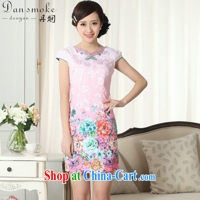 Dan smoke summer new female elegance Chinese cheongsam beauty improved graphics thin stamp pink short cheongsam as shown color 2 XL