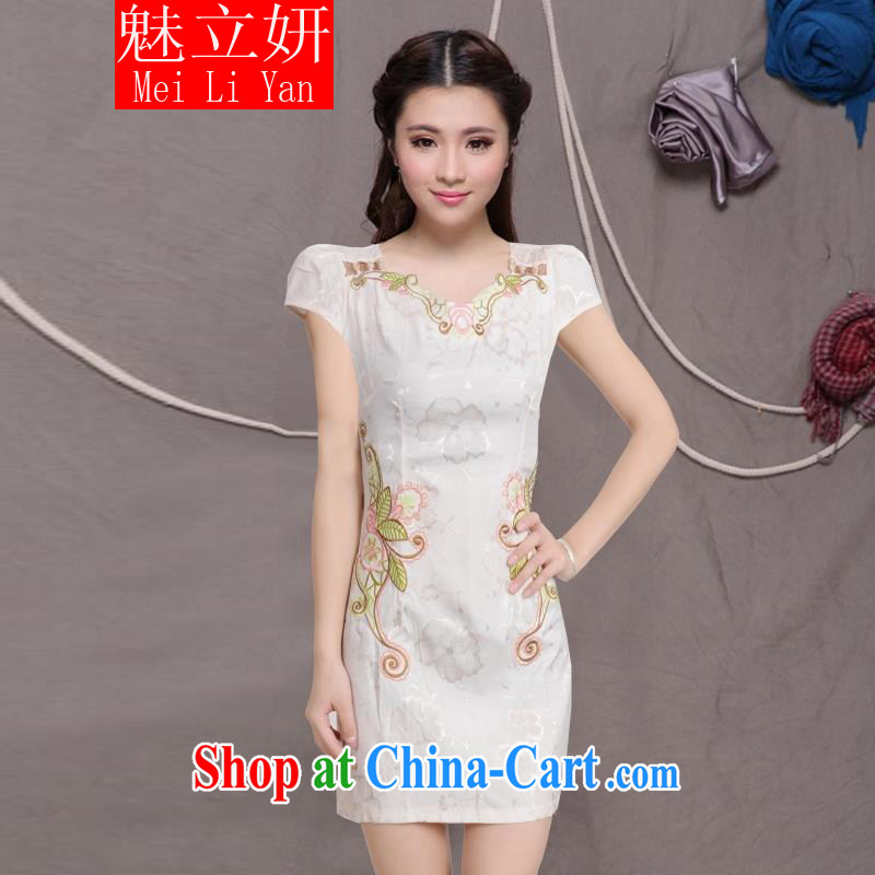 Clearly, her 2015 NEW Improved Female cheongsam dress fashion style retro beauty everyday dresses short dresses, pale yellow XXL