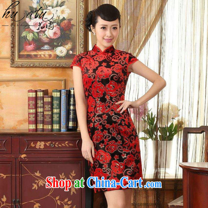 spend the summer cheongsam dress new Chinese improved the collar stretch the wool stylish classic retro short-sleeved short cheongsam red 2 XL