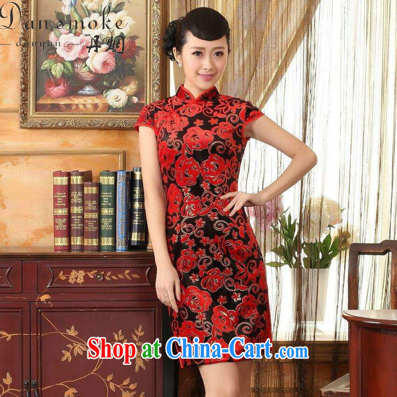 Bin Laden smoke-free summer cheongsam dress new Chinese improved the collar stretch the wool stylish classic retro short-sleeved short cheongsam red 2 XL