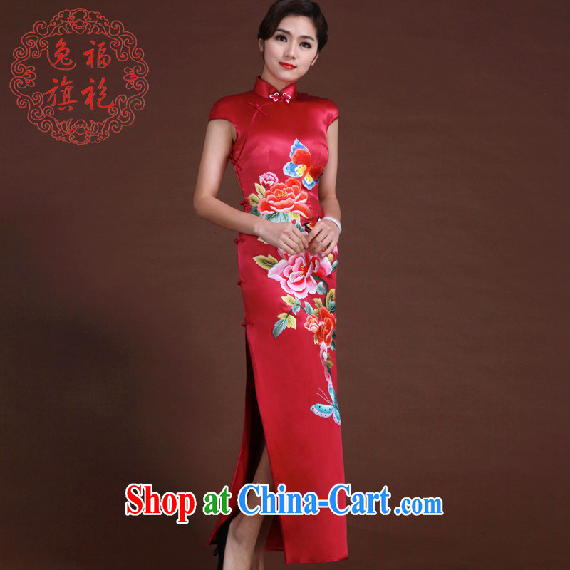 once and for all, the red embroidery cheongsam heavy silk long cheongsam embroidered butterfly peony flower handmade custom, the red tailored 20 day shipping