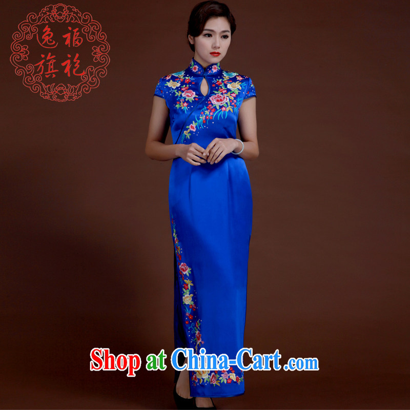 once and for all, high-end embroidery cheongsam star with royal blue heavy silk Chinese dinner with the manual Custom Blue tailored 20 day shipping