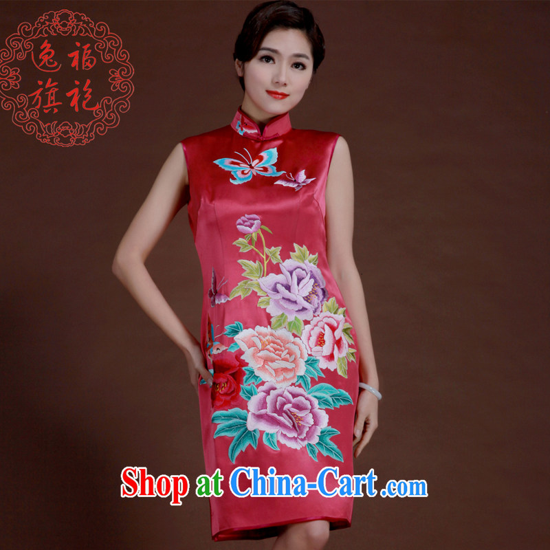 once and for all, robes of light red embroidery cheongsam silk heavy short dresses bridal bridesmaid Service Manual custom Light of red tailored 20 day shipping