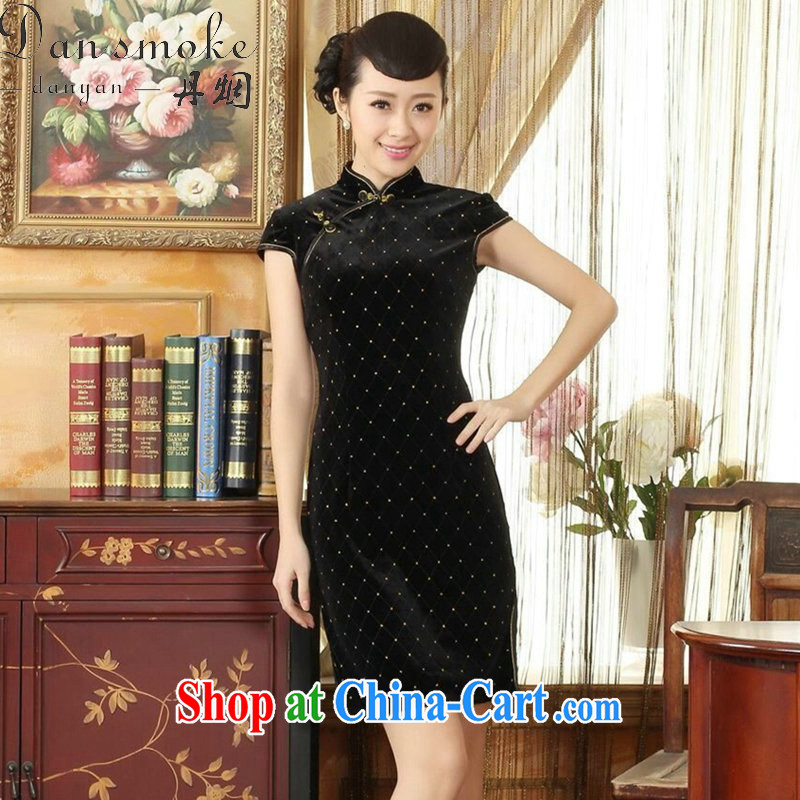 Dan smoke Chinese qipao summer new women improved, for elegant stretch the wool stylish classic short-sleeved short cheongsam black 2 XL
