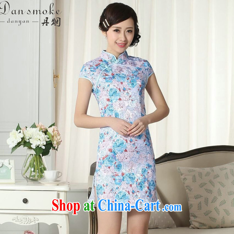 Dan smoke lady stylish summer dresses Women's clothes jacquard cotton cultivation short cheongsam dress new Chinese, for a tight outfit such as the color 2 XL