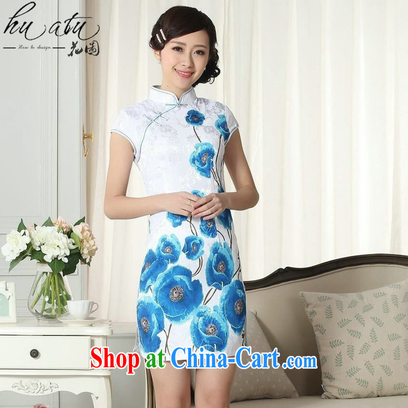 spend the summer dresses Women's clothes everyday stylish jacquard cotton cultivating short cheongsam dress new Chinese, Traditional costumes for dress as color 2XL