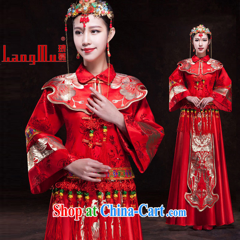 In Luang Prabang in 2015 OF NEW Su-wo service retro bridal dress Chinese wedding dresses use phoenix red toast serving Sau kimono XS