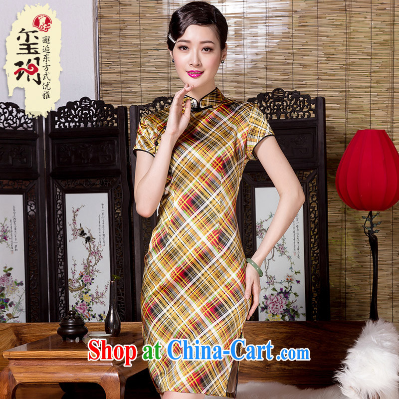 Yin Yue seal 2015 spring and summer New Paragraph Style of the heavy Silk Cheongsam daily banquet, qipao dress picture color XL