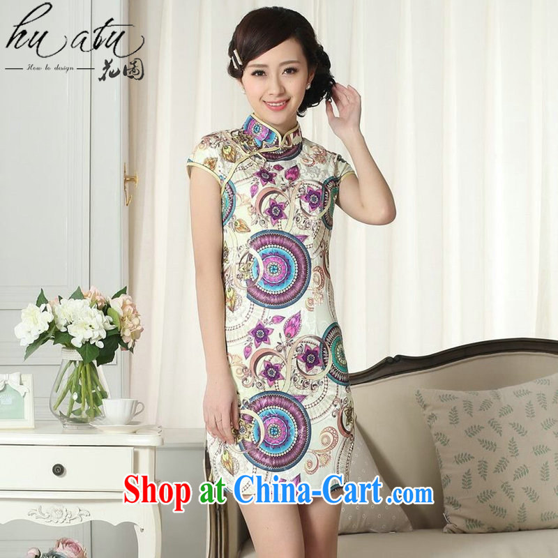 Take the improved retro dresses and stylish summer jacquard cotton cultivating everyday dresses skirts female new Chinese leader, qipao gown as shown color 2 XL