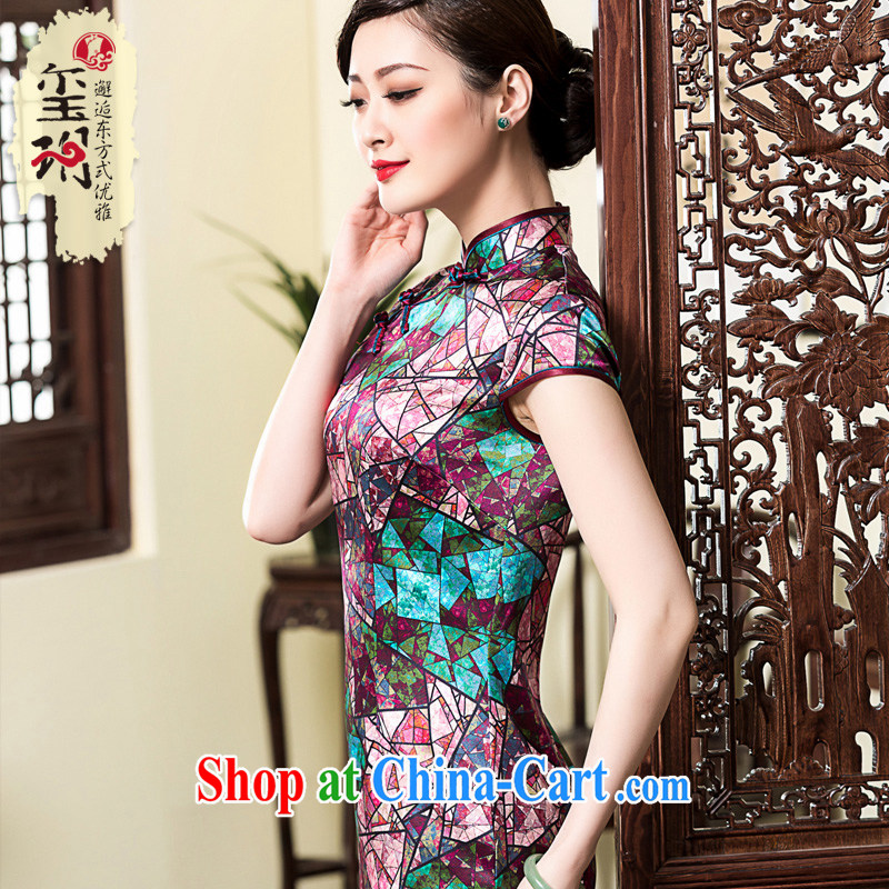 Yin Yue seal 2015 spring and summer, diamond heavy Silk Cheongsam dress improved cultivating retro sauna silk dress cheongsam picture color XXL
