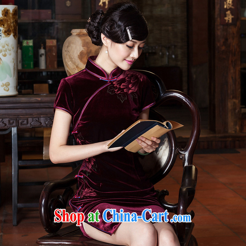 Yin Yue seal 2015 spring and summer new wool hand-painted improved cheongsam Korea Daily retro upscale cheongsam dress wine red concept XXL archive