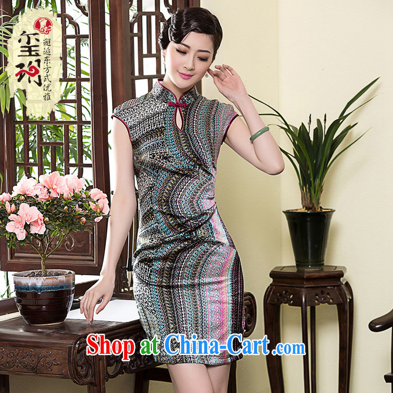 Yin Yue seal 2015 heavy Silk Cheongsam dress short-sleeved, improved fashion style retro everyday, dress skirt picture color M