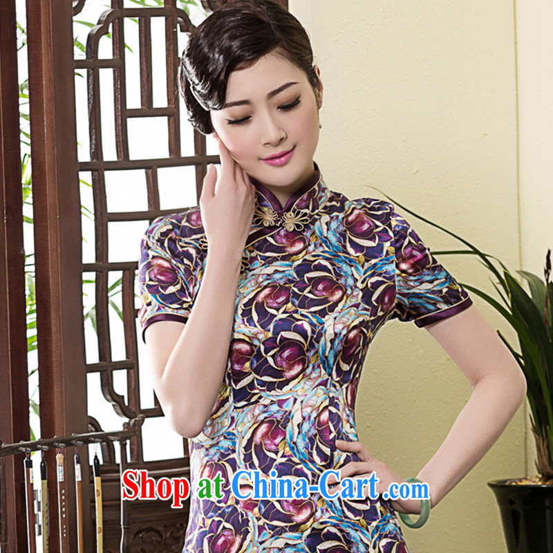 Yin Yue seal 2015 heavy silk stamp improved cheongsam dress everyday, Korea, Chinese Chinese cheongsam dress picture color L