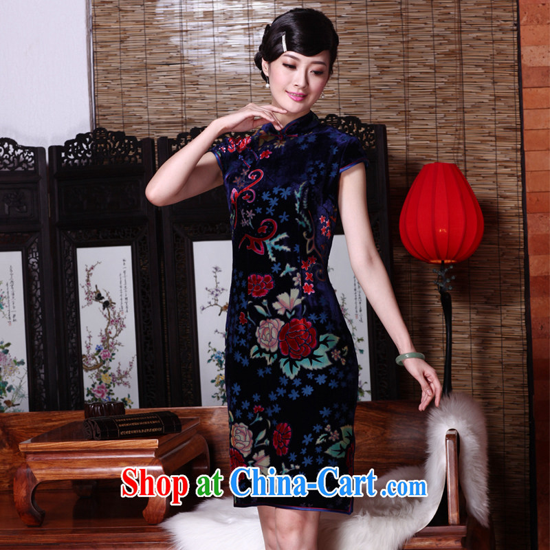 Yin Yue seal 2015 spring and summer new upscale silk flowers lint-free cloth robes sauna annual silk dress cheongsam dress picture color M