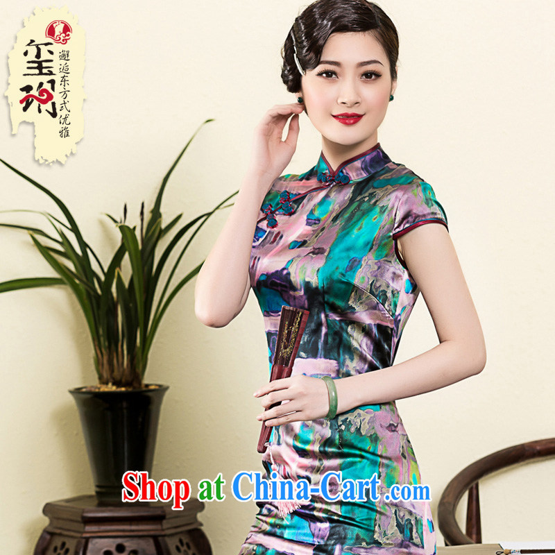 Yin Yue seal 2015 spring and summer New Silk Cheongsam daily short-sleeved Ethnic Wind cheongsam dress Stylish retro improved picture color XL